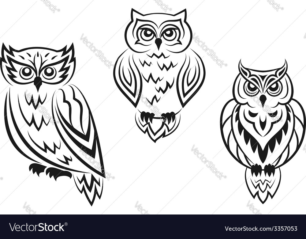 Black and white owl bird tatoos vector | Price: 1 Credit (USD $1)