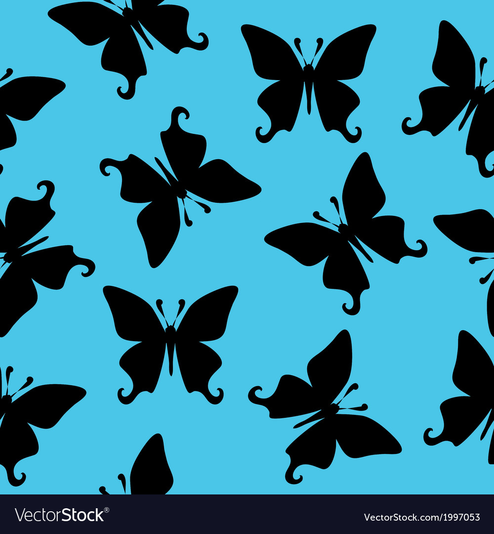 Black butterfly seamless texture vector