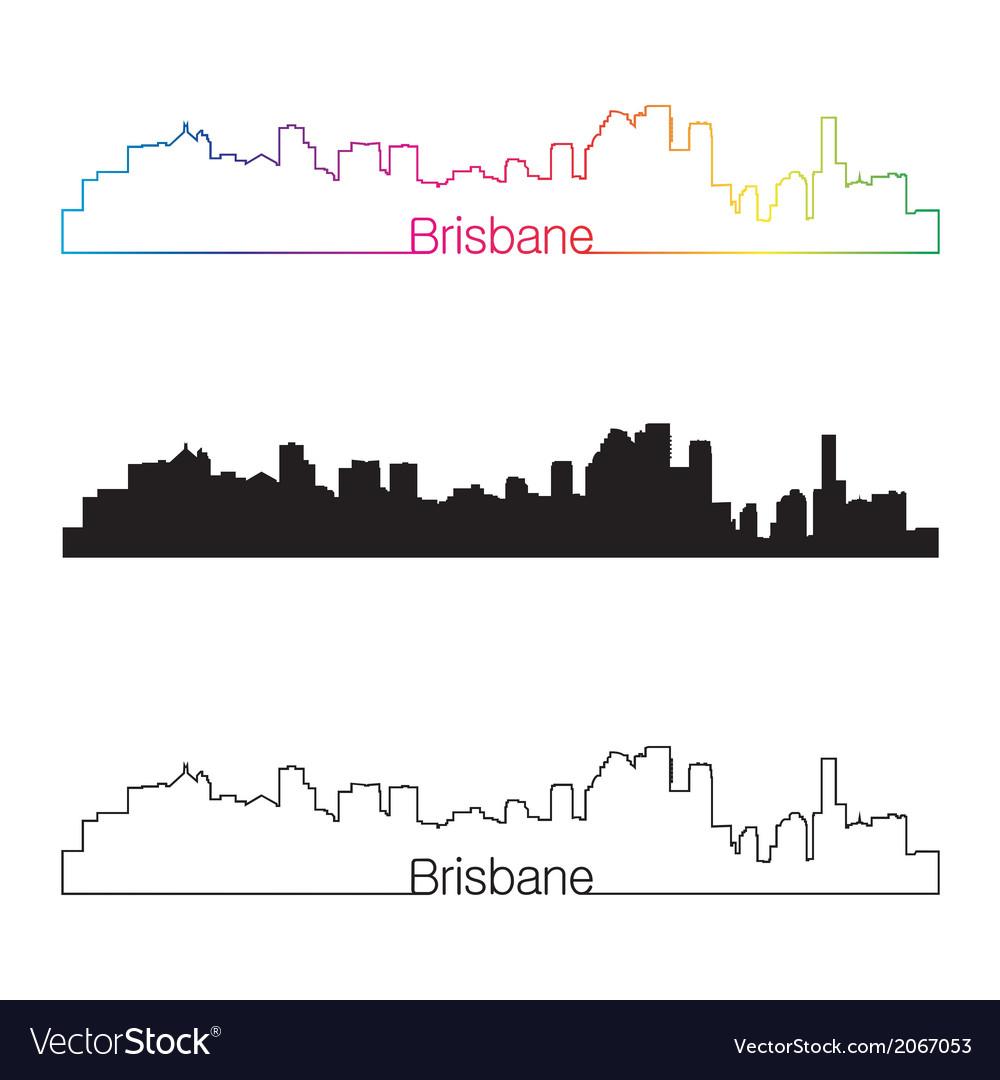 Brisbane skyline linear style with rainbow vector | Price: 1 Credit (USD $1)
