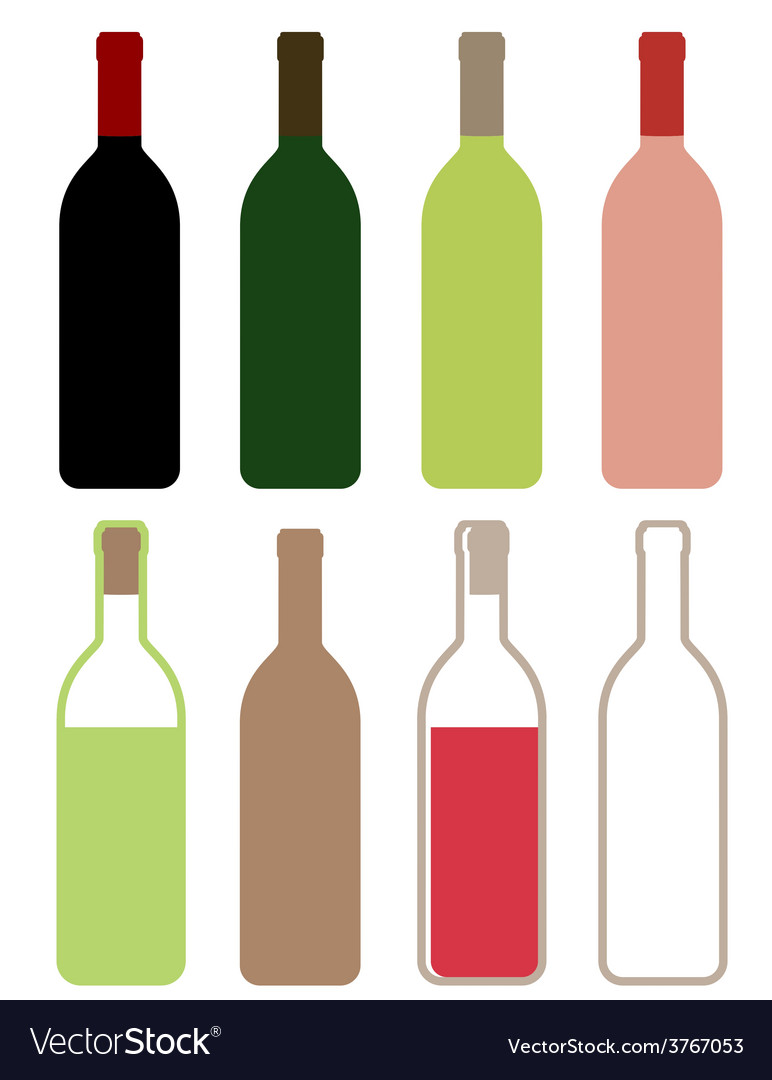 Colorful wine bottles vector | Price: 1 Credit (USD $1)