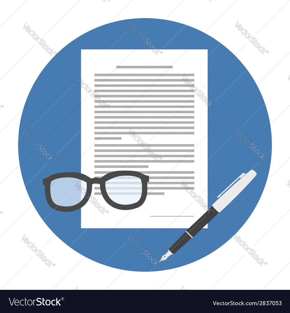 Contract icon flat style isolated in colored vector | Price: 1 Credit (USD $1)
