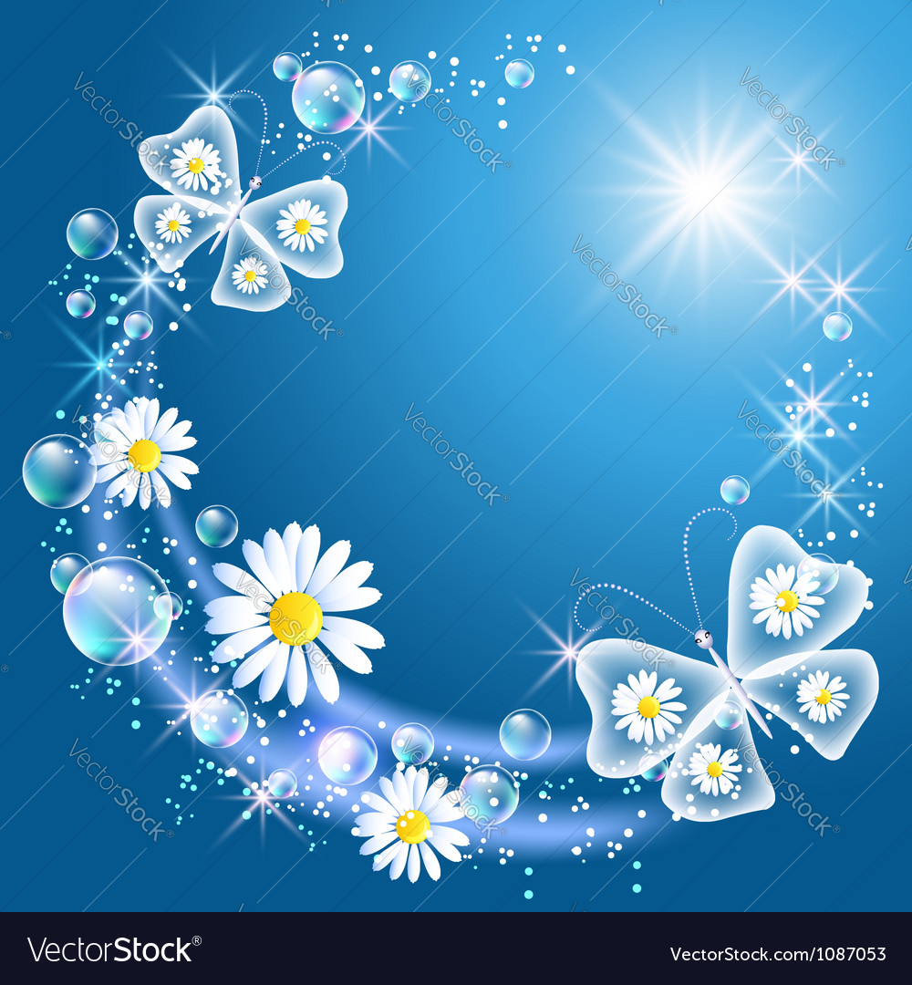 Daisy and butterflies vector | Price: 1 Credit (USD $1)