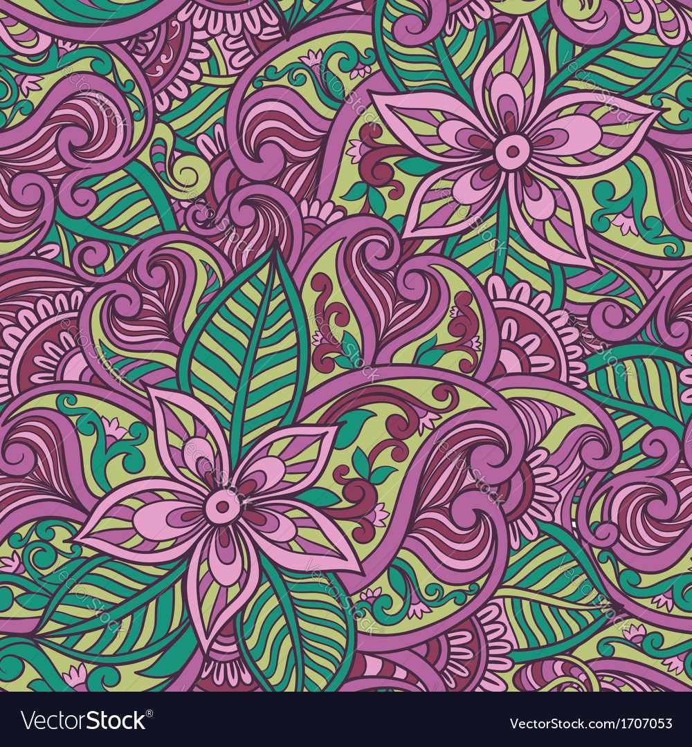 Decorative floral ornamental seamless pattern vector | Price: 1 Credit (USD $1)