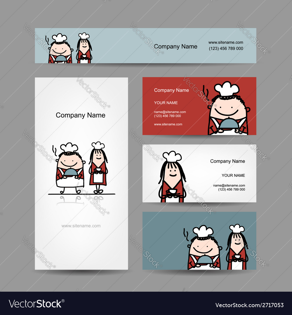 Design of business cards with chef cook cartoon vector | Price: 1 Credit (USD $1)