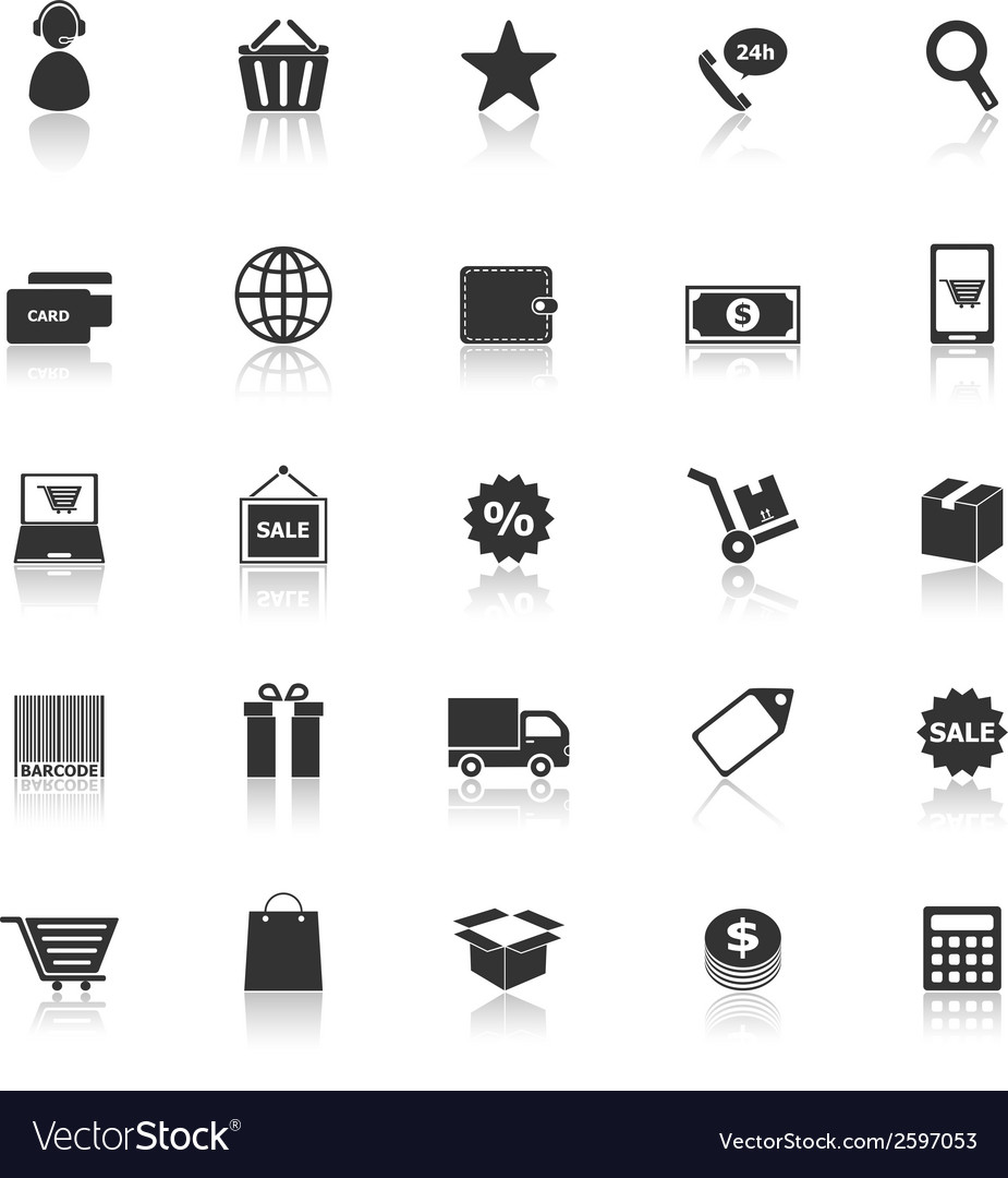 E commerce icons with reflect on white background vector | Price: 1 Credit (USD $1)
