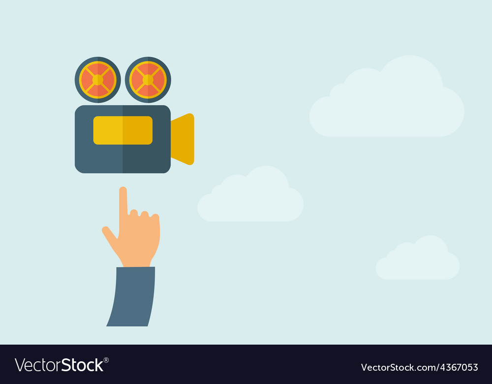 Hand pointing to a video cam icon vector | Price: 1 Credit (USD $1)