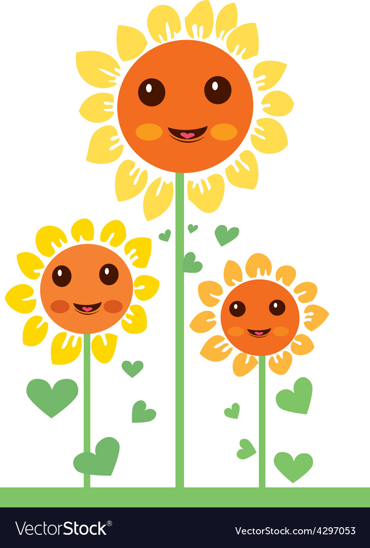 Kawaii flowers 2 vector | Price: 1 Credit (USD $1)