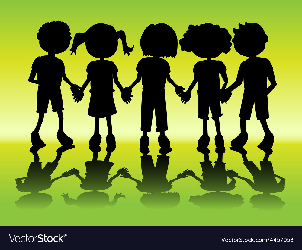 Kid silhouettes holding hands vector | Price: 1 Credit (USD $1)