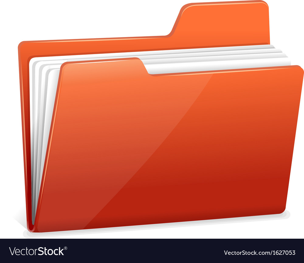 Red file folder with documents vector | Price: 1 Credit (USD $1)