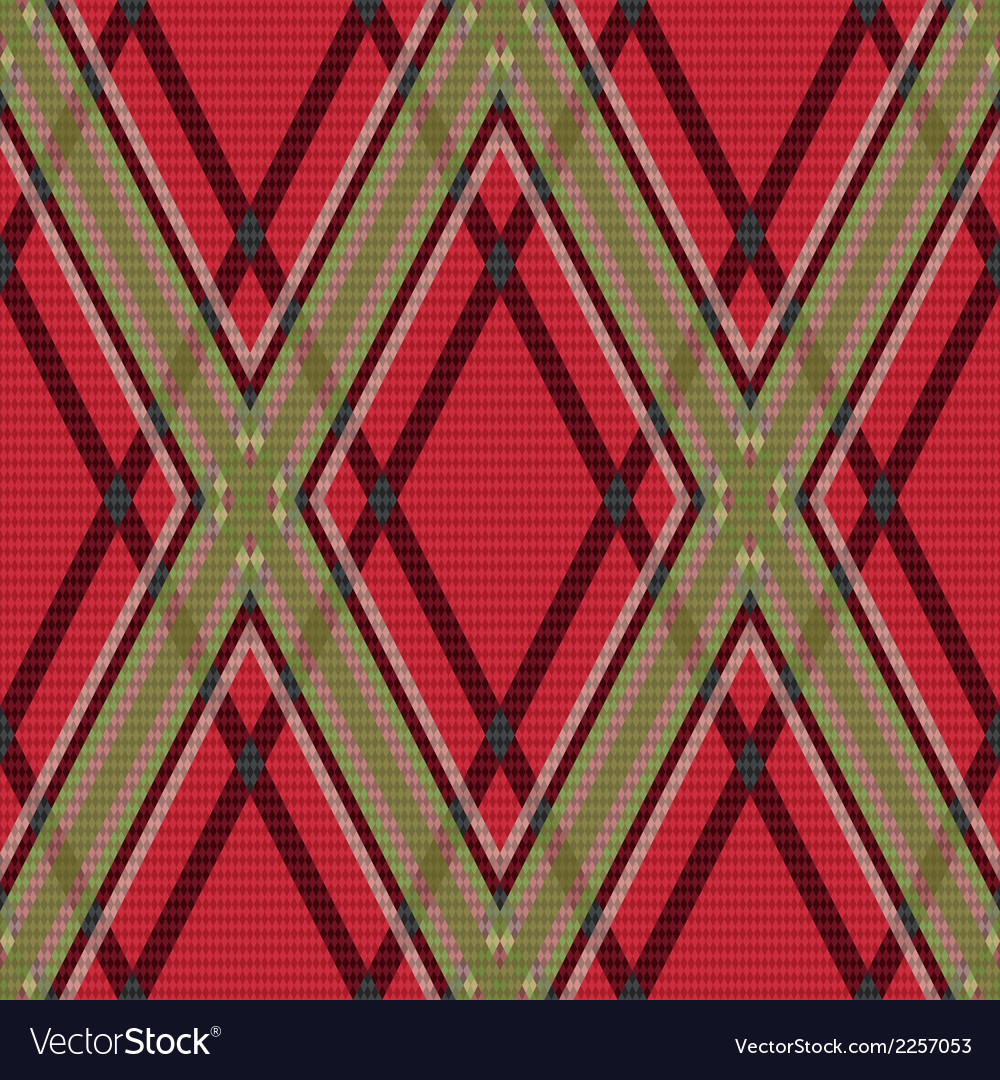 Rhombic tartan red and green fabric seamless vector | Price: 1 Credit (USD $1)