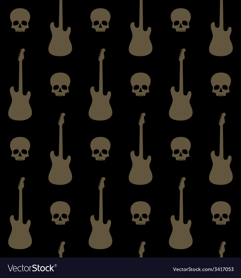 Seamless background with skulls and guitars vector | Price: 1 Credit (USD $1)