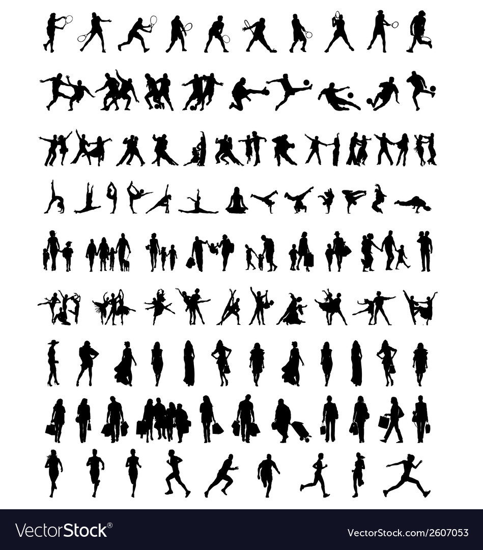 Silhouettes of people 2 vector | Price: 1 Credit (USD $1)