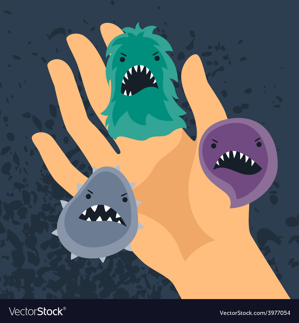 Background with little angry viruses and hand vector | Price: 1 Credit (USD $1)