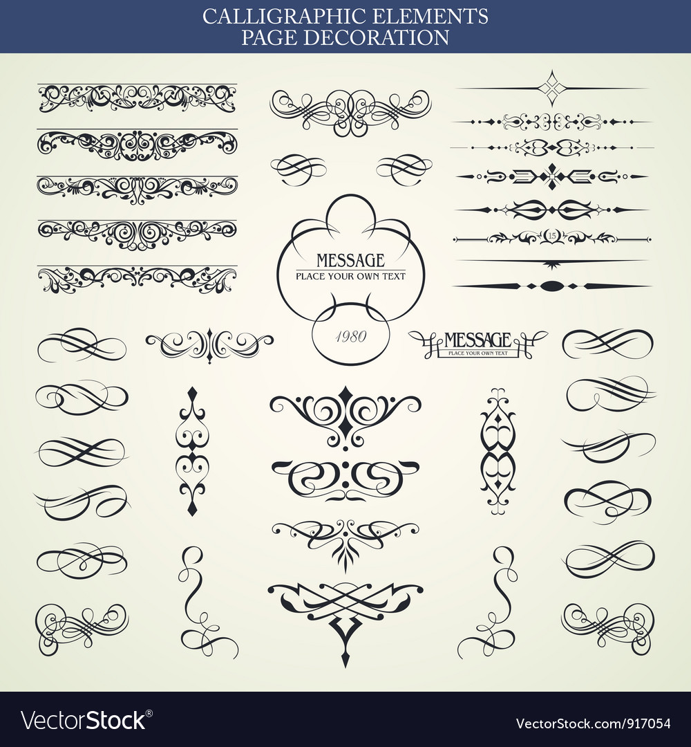 Calligraphic elements and page decoration vector | Price:  Credit (USD $)