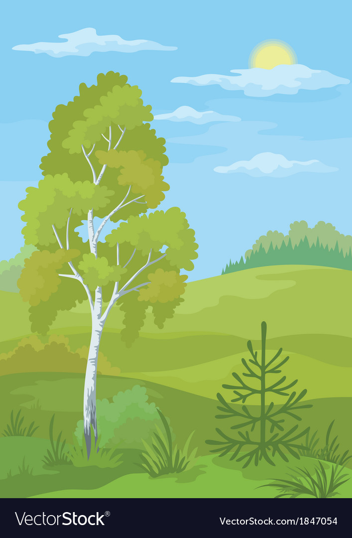 Landscape summer forest vector | Price: 1 Credit (USD $1)