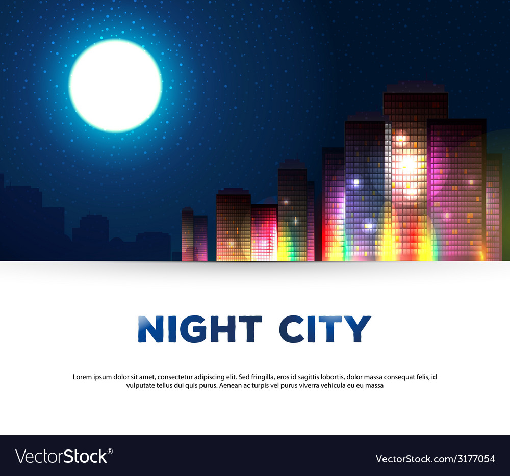Night urban city background vector | Price: 1 Credit (USD $1)