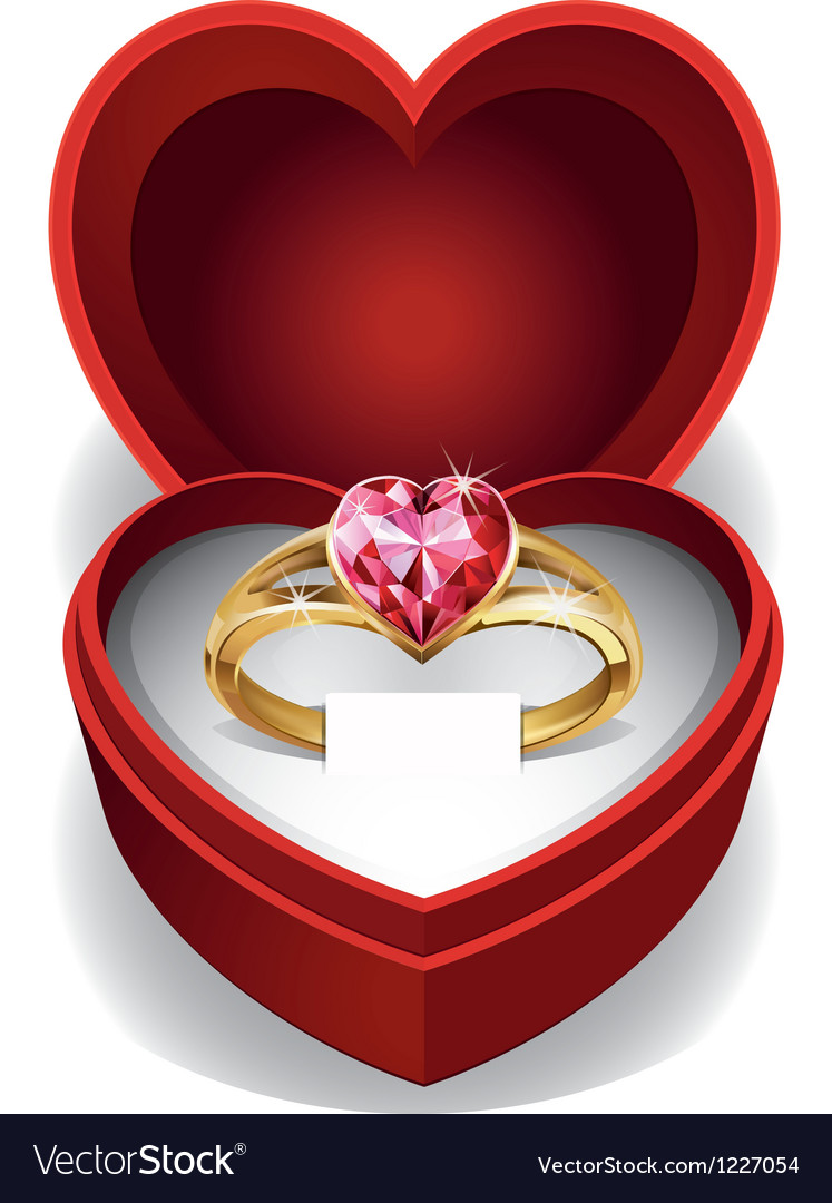 Pink heart gold ring vector | Price: 1 Credit (USD $1)