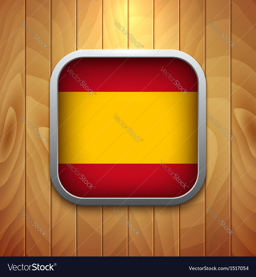 Rounded square spain flag icon on wood texture vector | Price: 1 Credit (USD $1)