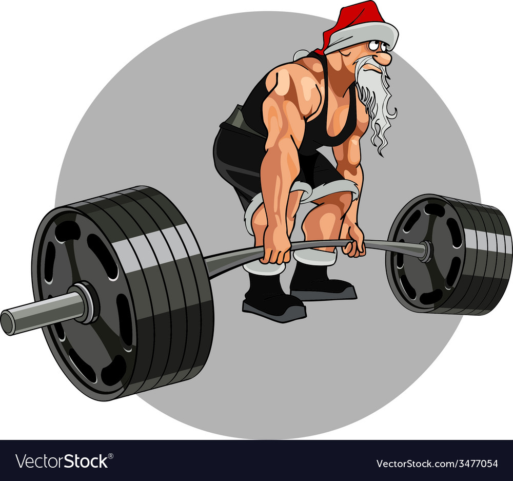 Santa claus athlete with a barbell vector | Price: 3 Credit (USD $3)