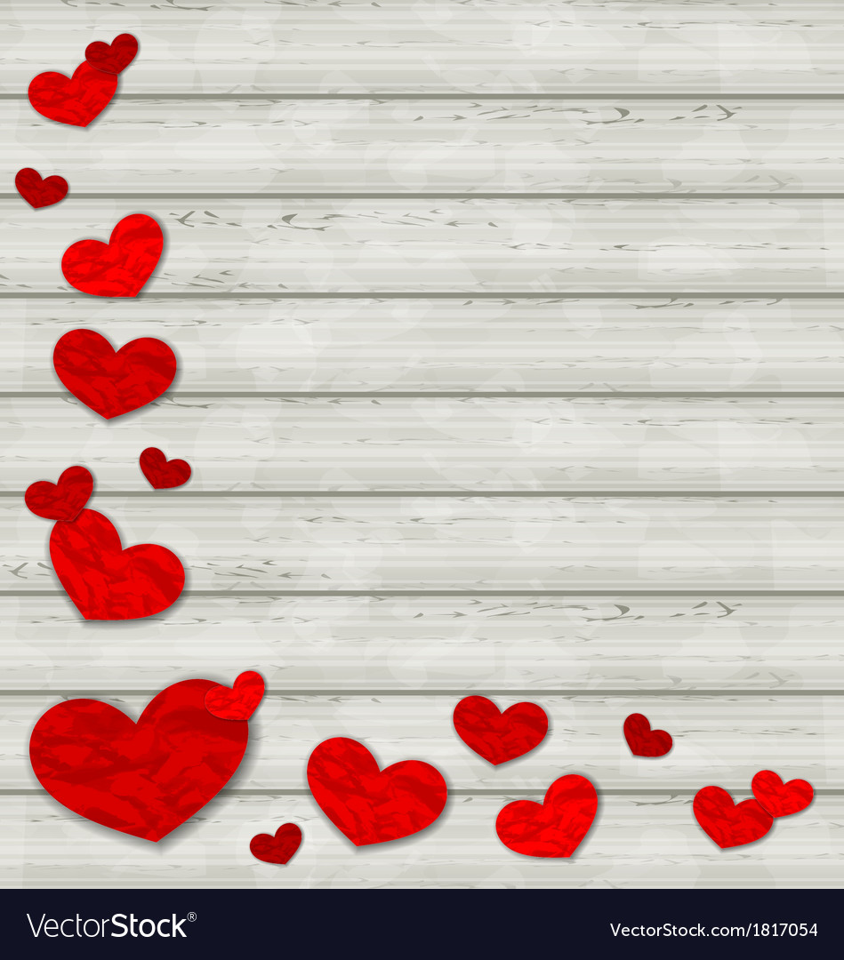 Set crumpled paper hearts on wooden background vector | Price: 1 Credit (USD $1)