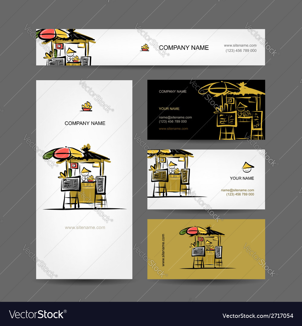 Set of business cards design street market vector | Price: 1 Credit (USD $1)