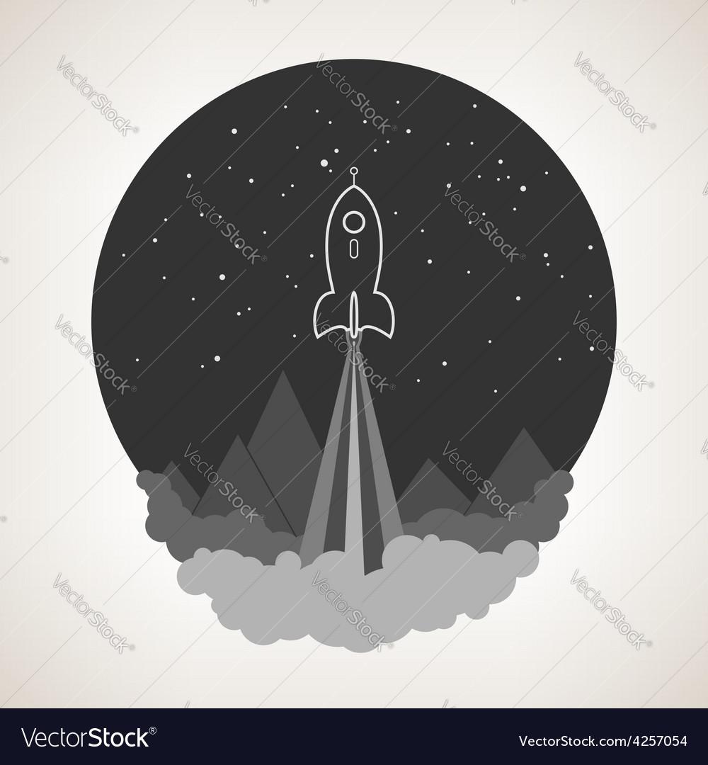 Space rocket flies into space vector | Price: 1 Credit (USD $1)