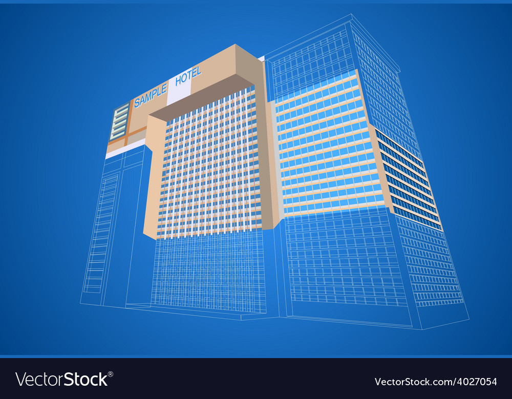Wireframe with dimensional hotel plaza vector | Price: 1 Credit (USD $1)