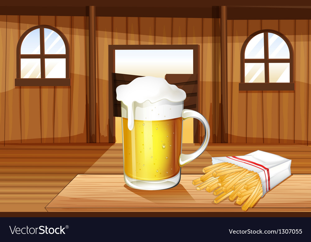 A mug of cold beer and french fries at the saloon vector | Price: 1 Credit (USD $1)