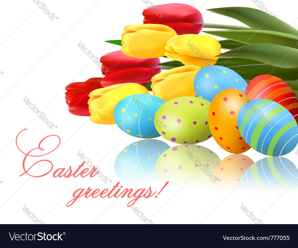 Fresh spring flowers with easter eggs vector | Price: 3 Credit (USD $3)