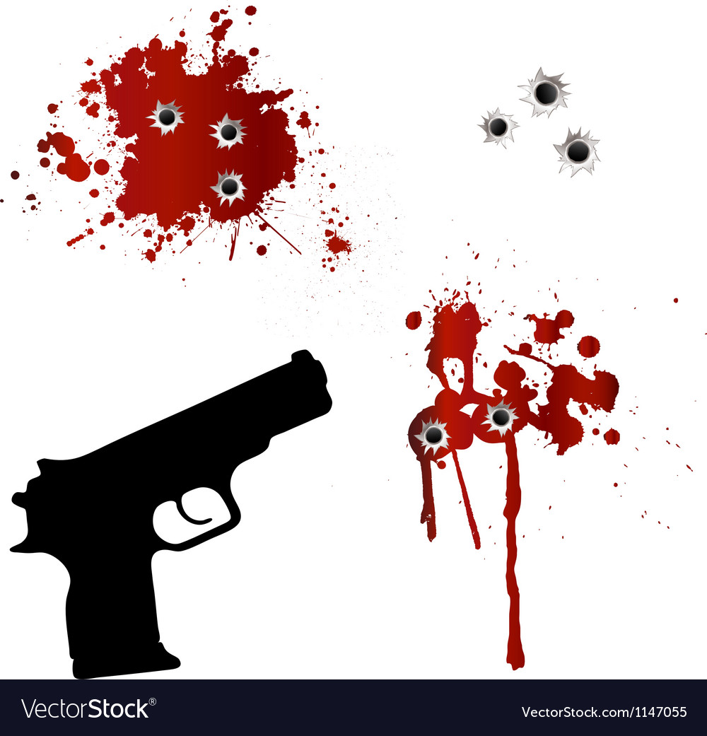 Gun with bullet holes and blood vector | Price: 1 Credit (USD $1)