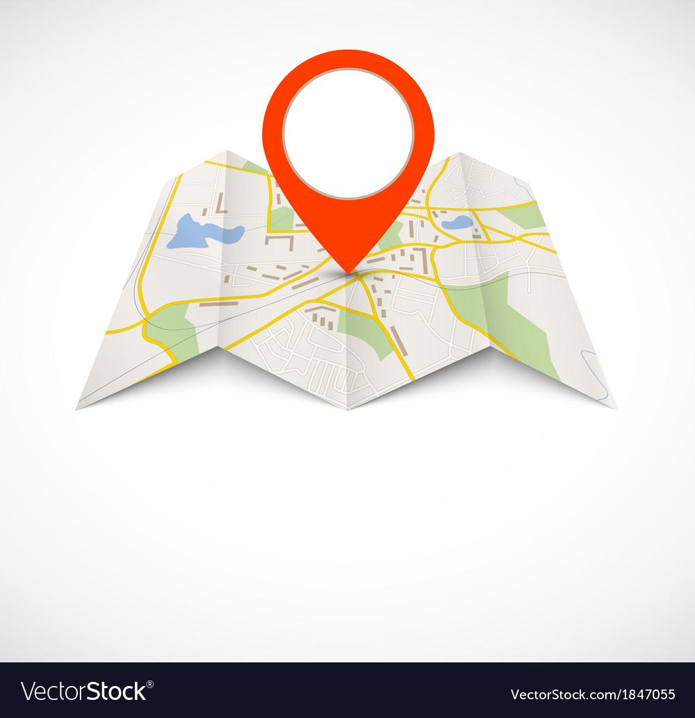Navigation map with red pin vector | Price: 1 Credit (USD $1)
