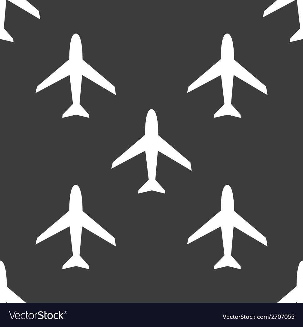 Plane web icon flat design seamless pattern vector | Price: 1 Credit (USD $1)