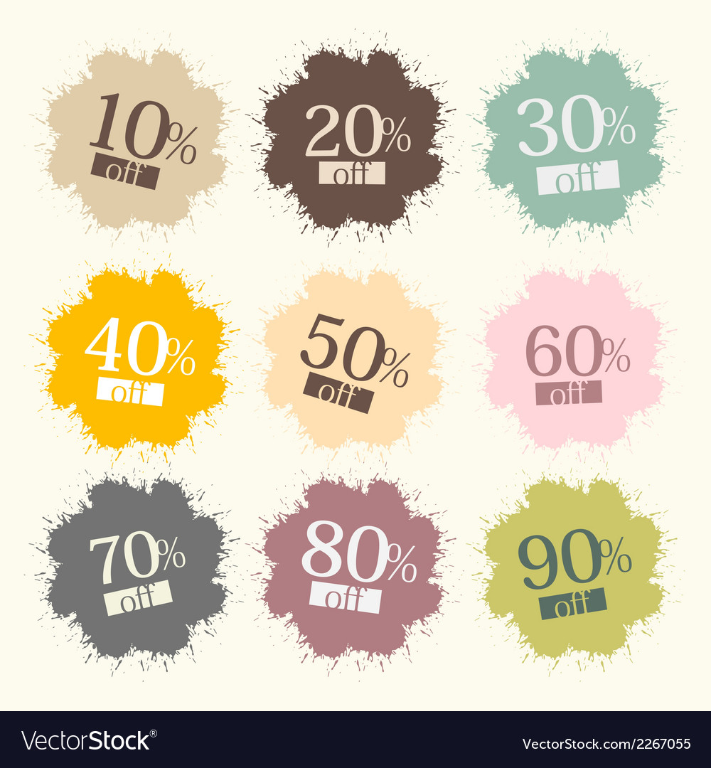 Retro discount labels stains splashes vector | Price: 1 Credit (USD $1)