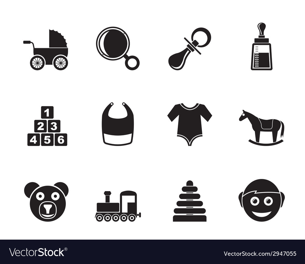 Silhouette baby and children icons vector | Price: 1 Credit (USD $1)