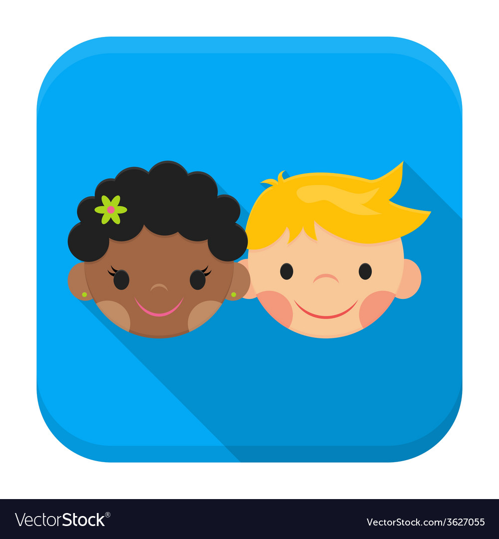 Smiling boy and girl faces app icon with long vector | Price: 1 Credit (USD $1)