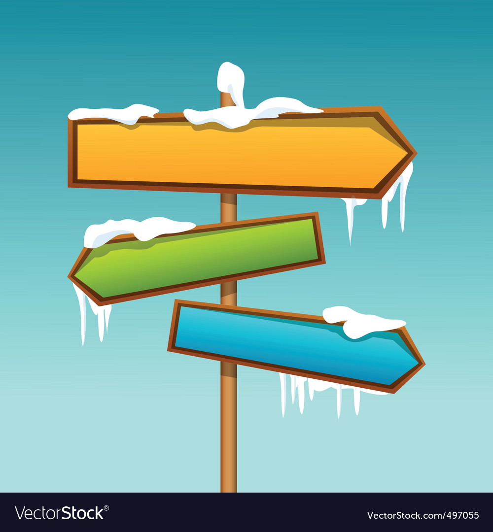 Snowy direction board vector | Price: 1 Credit (USD $1)