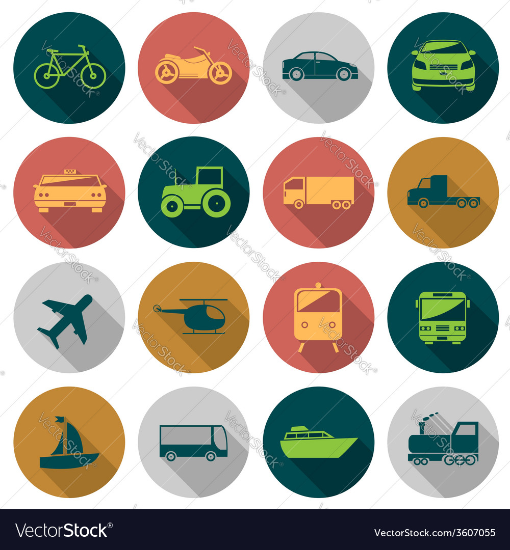 Transport flat icons vector | Price: 1 Credit (USD $1)