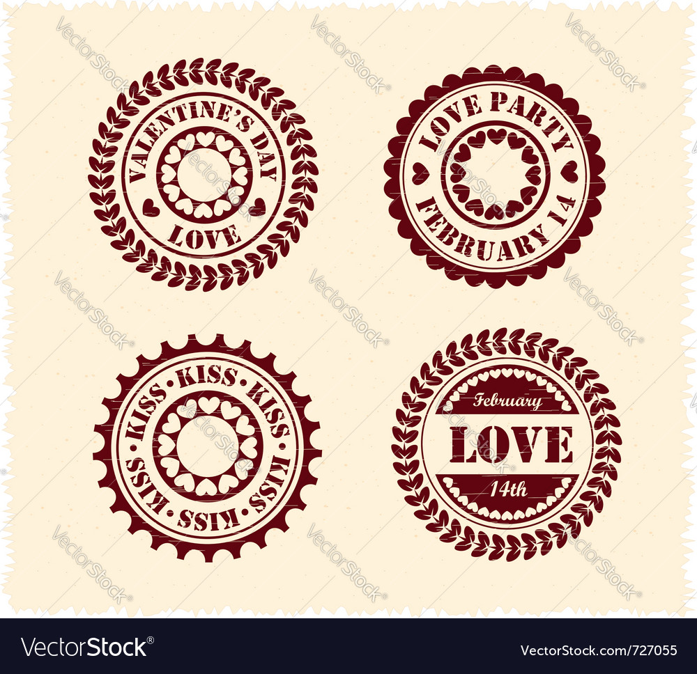 Valentine day vintage stamps vector | Price:  Credit (USD $)