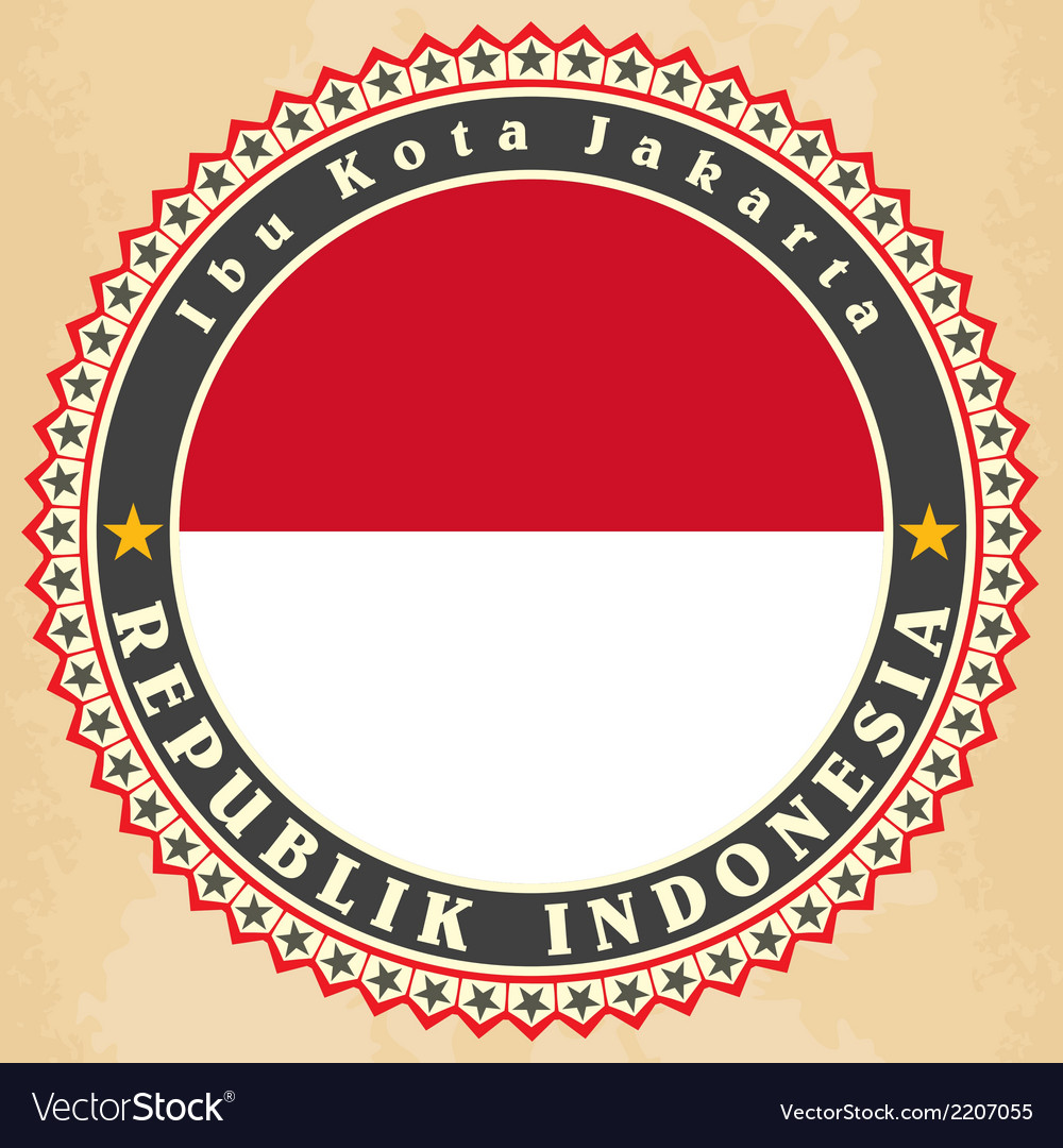Vintage label cards of indonesia flag vector | Price: 1 Credit (USD $1)