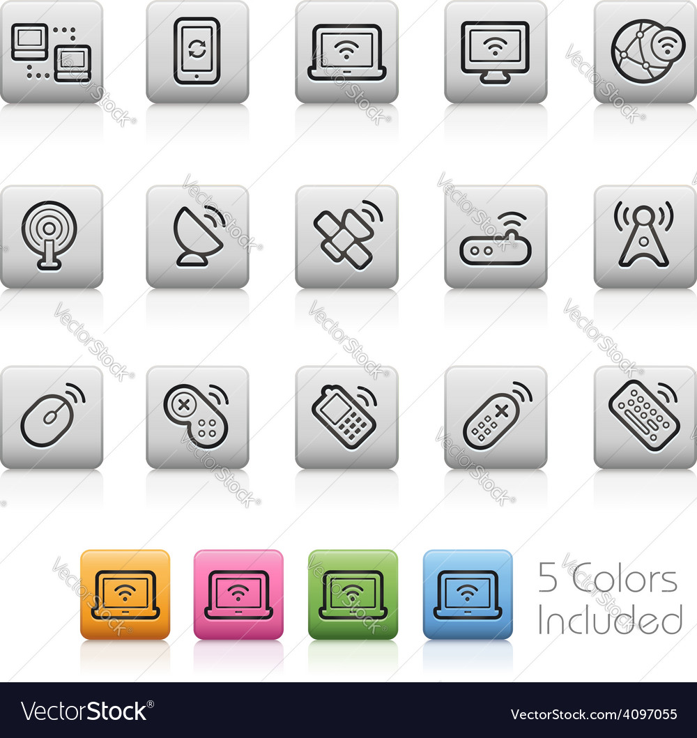 Wireless communications icons vector | Price: 1 Credit (USD $1)