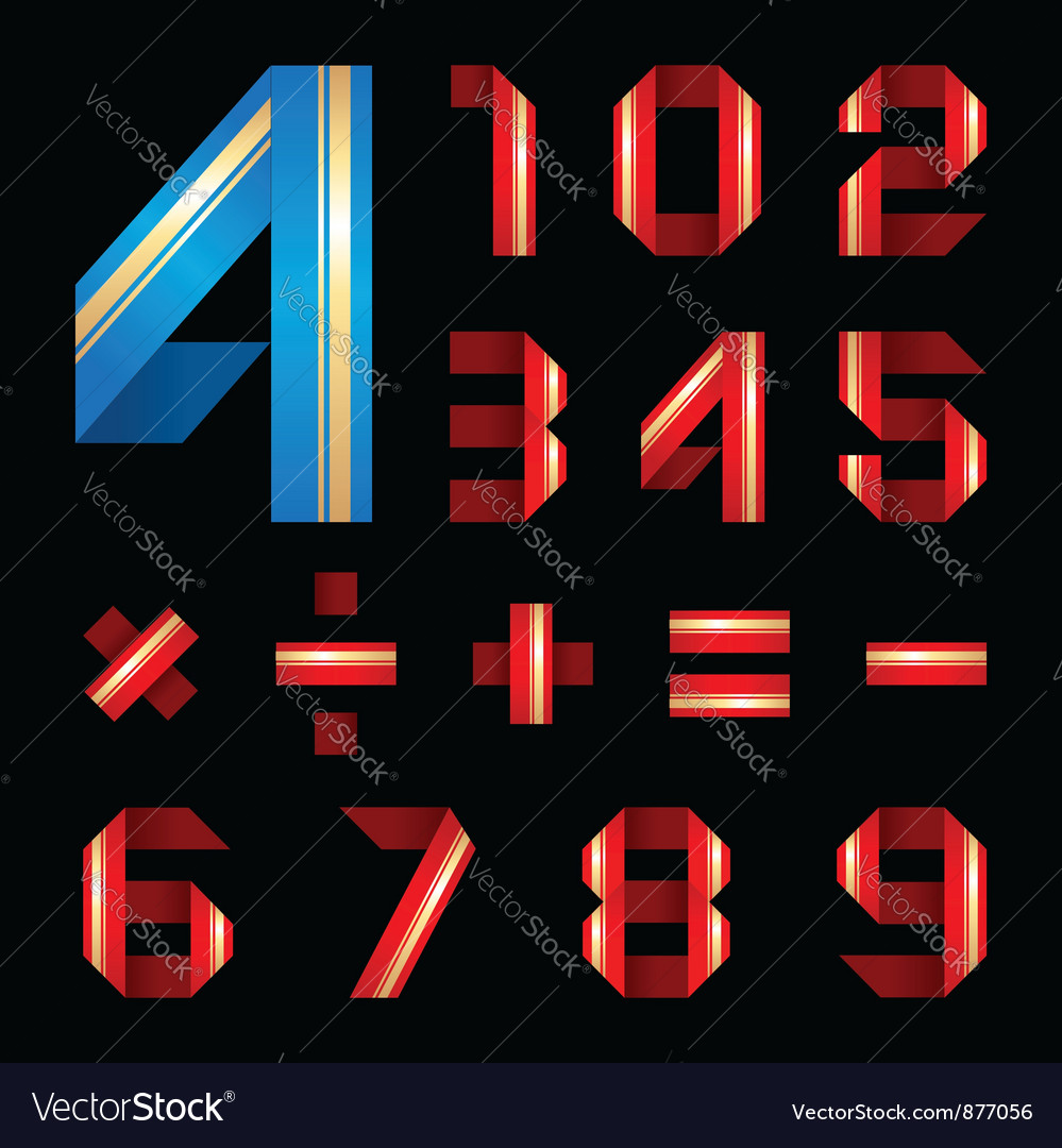 Abc font from coloured paper ribbon - set numerals vector | Price: 1 Credit (USD $1)
