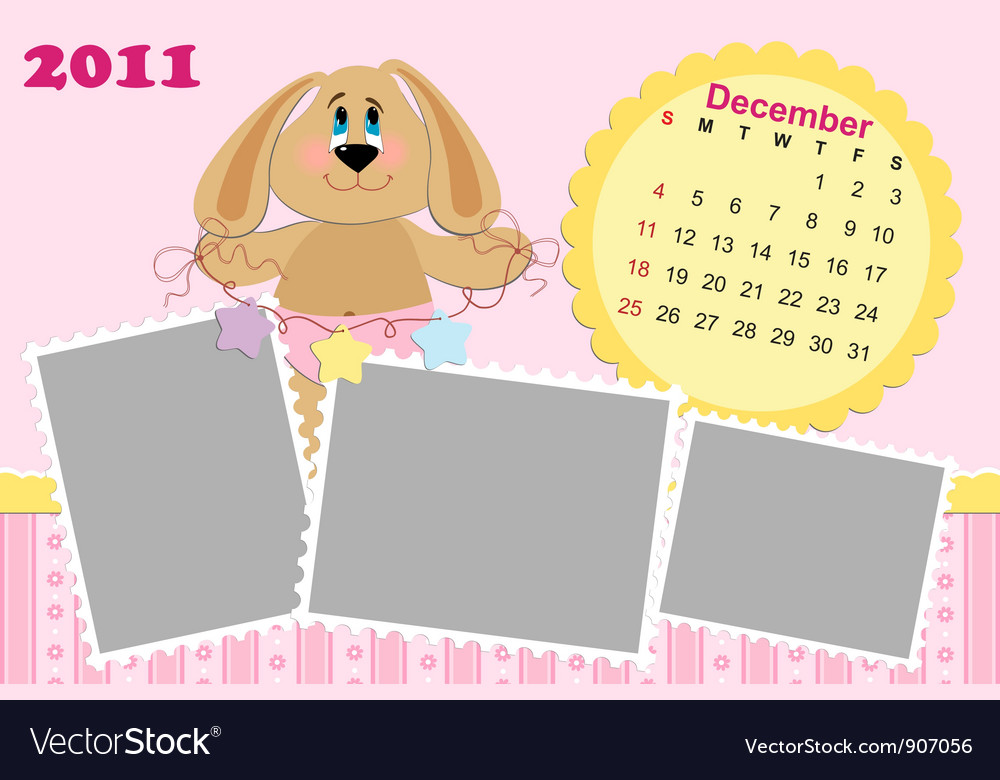 Babys monthly calendar for december 2011s vector | Price: 1 Credit (USD $1)