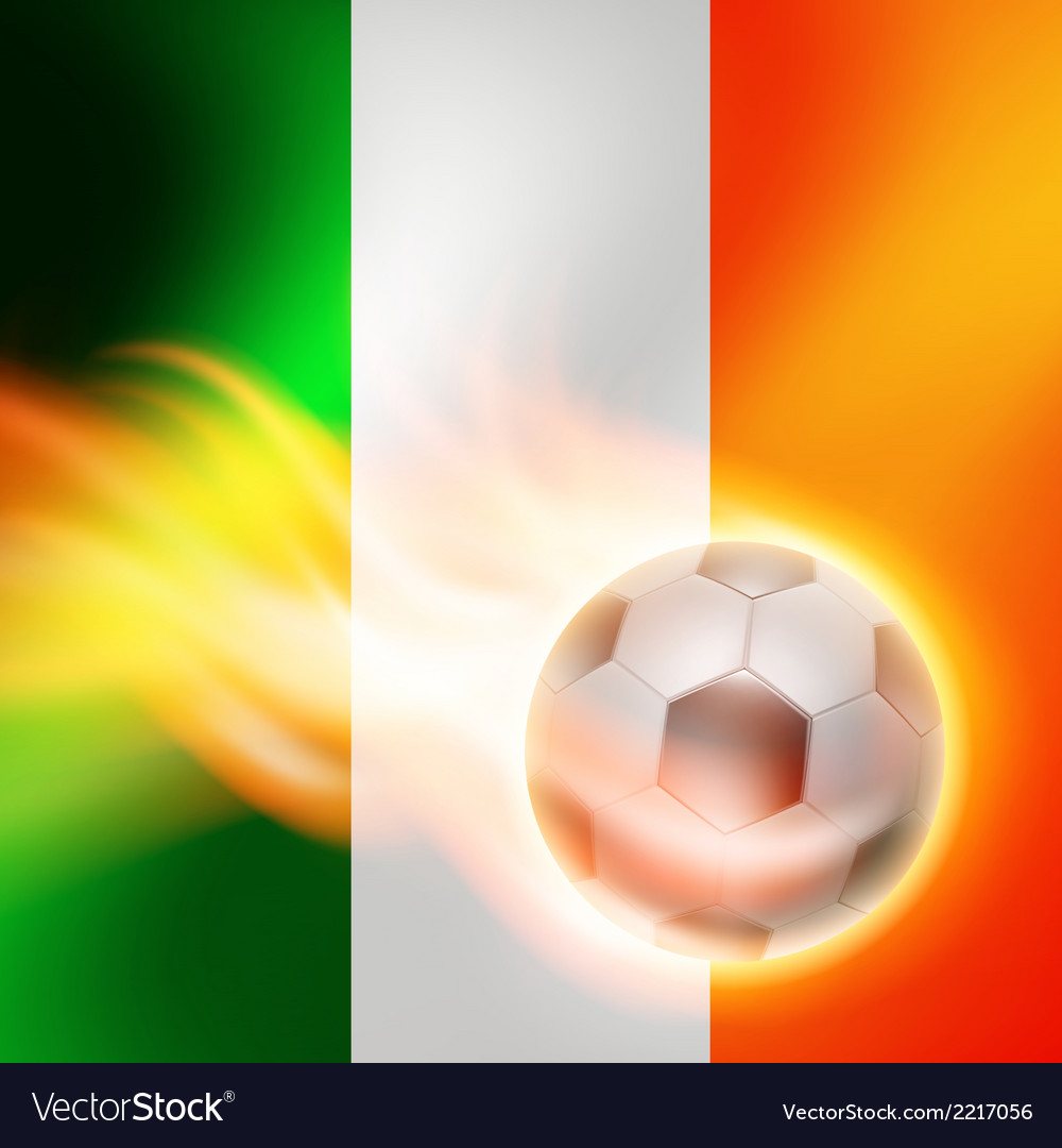 Burning football on ireland flag background vector | Price: 1 Credit (USD $1)