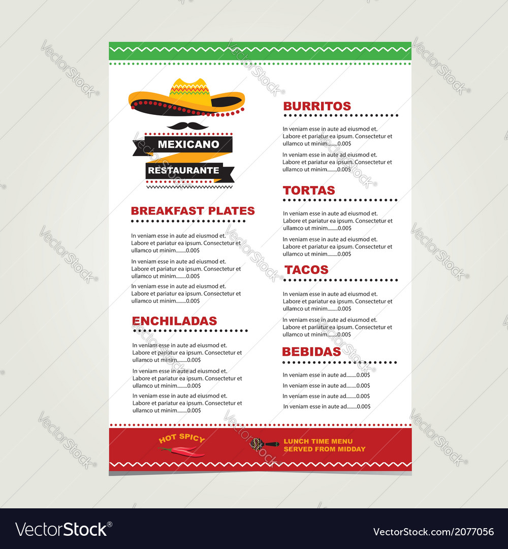 Cafe menu mexican template design vector | Price: 1 Credit (USD $1)