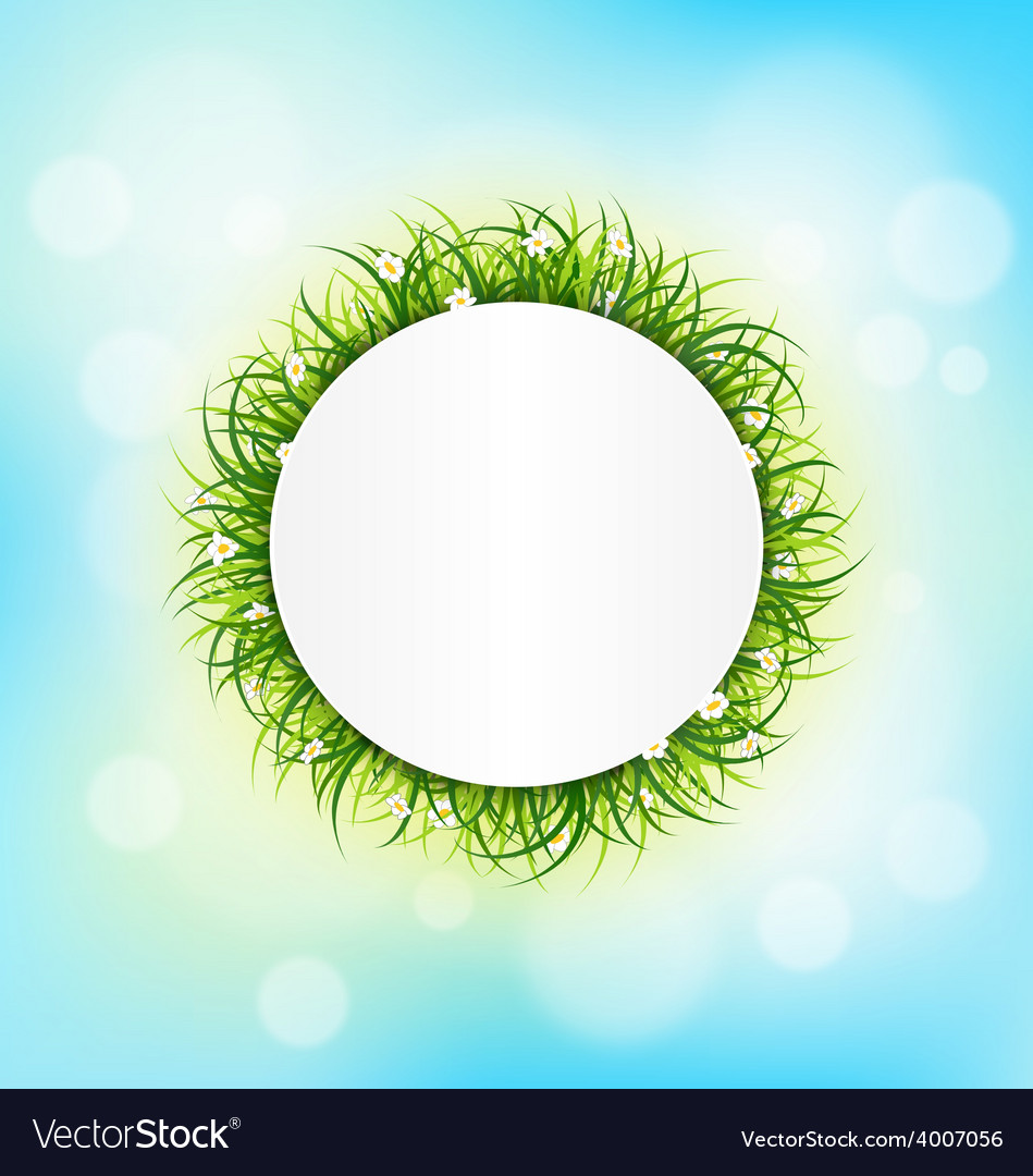 Circle frame with green grass chamomiles on sky vector | Price: 1 Credit (USD $1)
