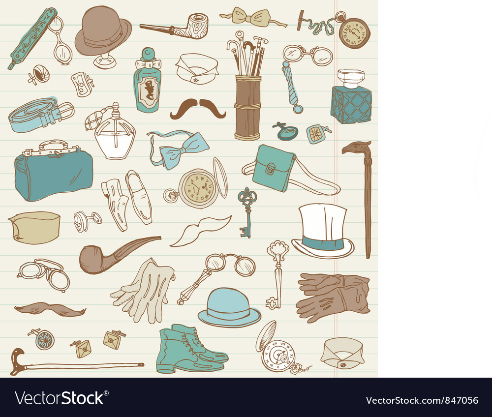 Gentlemens accessories doodle collection vector | Price: 1 Credit (USD $1)