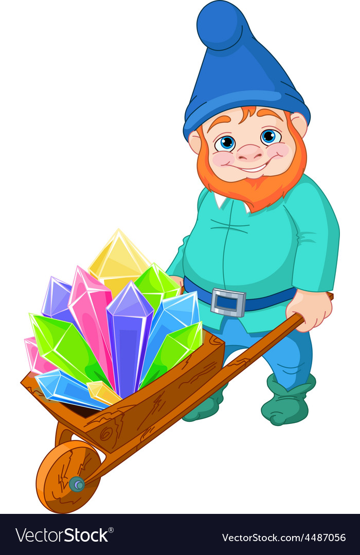 Gnome with quartz crystals vector