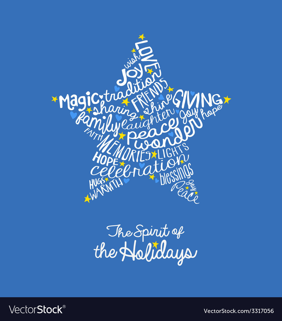 Handwritten holiday star card word cloud design vector | Price: 1 Credit (USD $1)