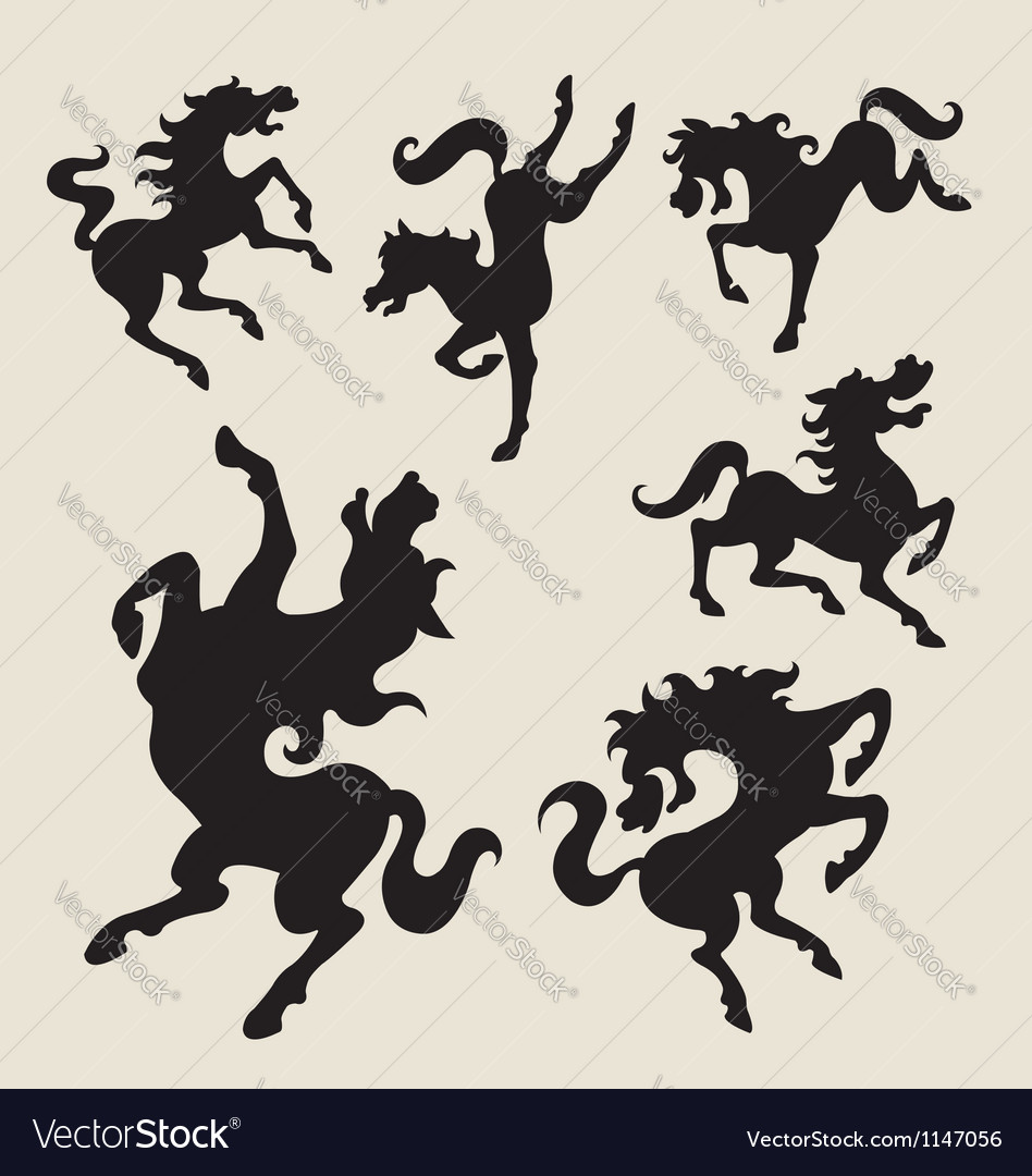 Horse dancing silhouettes vector | Price: 1 Credit (USD $1)