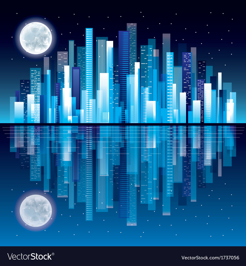 Night city panorama vector | Price: 1 Credit (USD $1)